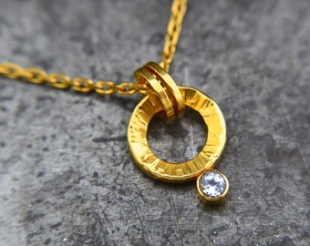 "Small Hammered Gold Circle Necklace / Genuine 24k Gold Plated Over Sterling Silver / White Topaz Necklace / 18"" Gold Plated Necklace / Gift"