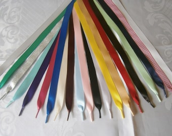 "Satin  Ribbon Shoelaces for Trainers,Boots, Shoes, DM's, Kickers,Tims - Aglet Ends - Many Colours -3/8"" ( 10mm} width"