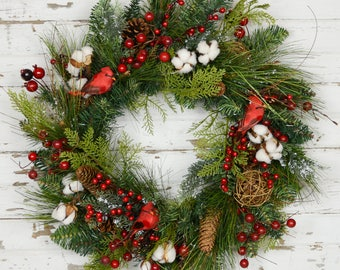 Evergreen Wreath - Berries and Birds
