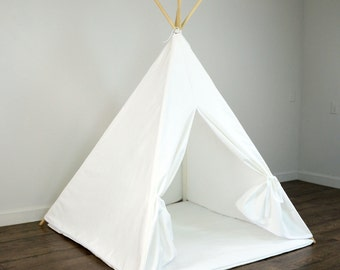 Kids Play Teepee Tent and Play Mat in Solid Plain White Cotton Canvas