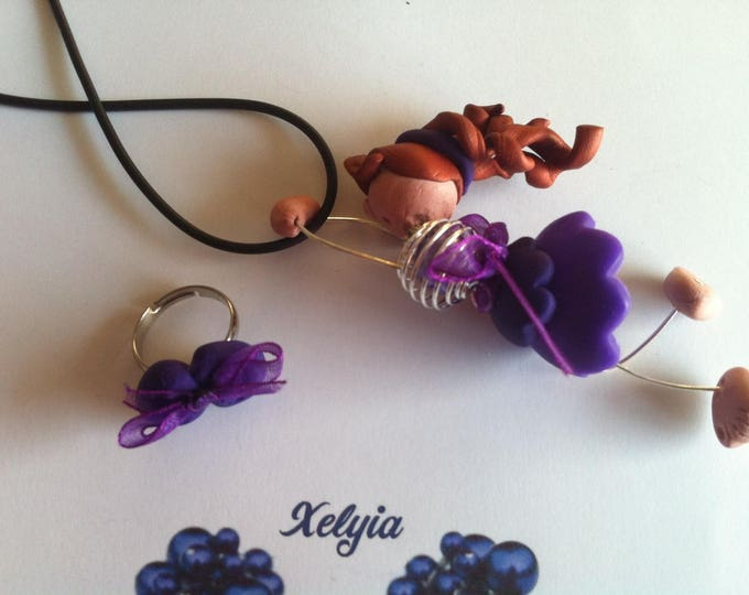 Booties dancer and ring pendant necklace purple