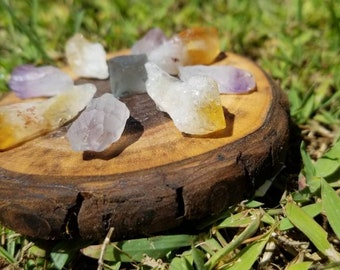 Citrine, amethyst & fluorite crystal grid