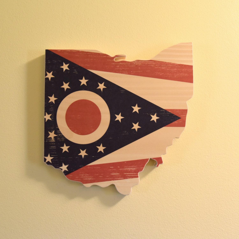 Ohio Wall Art Flag Edition Ohio Flag Wall Art Handmade