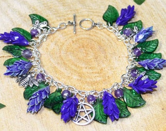 Fields of Lavender Handmade Pagan Bracelet with Hand Crafted Clay Flowers Celebrating Summer, Bees, and Butterflies