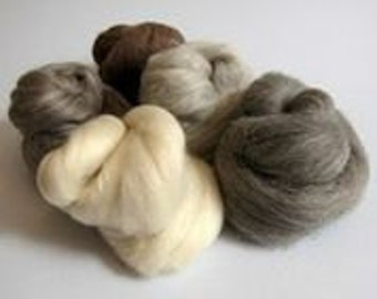British Breeds Wool Bundle - Needle Felting Craft Material - 100g pack - Neutral Colours