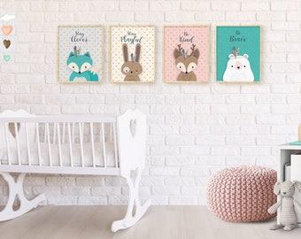 Woodland Nursery, Forest Animal Set, Nursery set of 4 print, Forest Friends, Bunny, Bear, Deer, Print set, Nursery Forest Decor, Printable