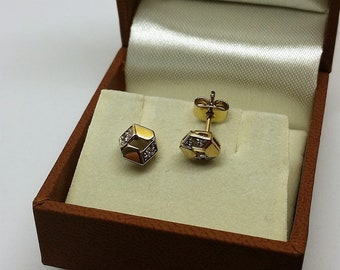Earrings Gold 333 Diamonds Stainless OR156