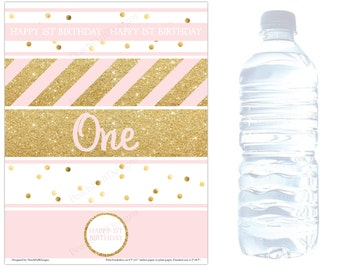 First birthday water bottle labels (INSTANT DOWNLOAD) - Pink and gold Birthday decorations - Water bottle wraps -Water bottle stickers BI001