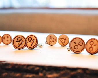 Lasercut Harry Potter Baltic Birch Cuff Links | HP jewelry | Potter gifts