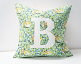 Monogrammed Pillow cover, 20x20, teal foxes, any letter available