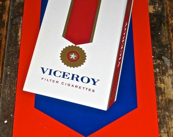 Vintage Viceroy Cigarette Tobacco Tin / Metal Advertising Sign