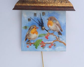 Red Robin BIRDS Hand PAINTED CLOCK Funny Small Clock with egg Wildlife Winter Scene Little Wall decor Velentines gift for Bird lover