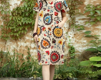 Anysize V-neck with double Pockets cotton&linen dress plus size dress plus size clothing Spring Summer Clothing Y44