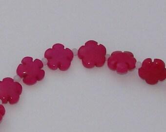 Jade flower bead 1 fushia pink 15 16x6mm - Ref: PJ 570