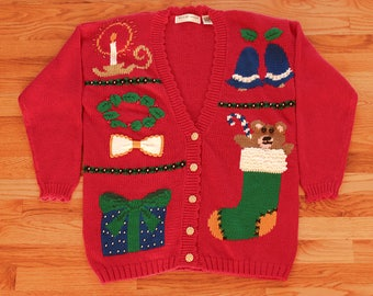 Sparkling, Colorful Red Ugly Christmas Cardigan Sweater by Maggie Lawrence - Womens Size Large with Shoulder Pads Still Attached - 1980's