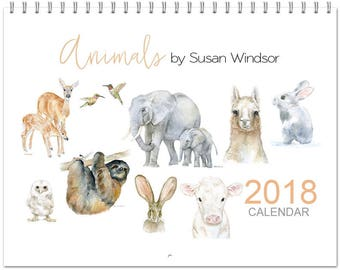 2018 Watercolor Wall Calendar - 11 x 8.5 - Animal Paintings  12 Month Calendar
