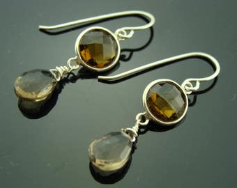Whiskey Quartz and Smoky Quartz Bezel Set 925 Sterling Silver Earrings