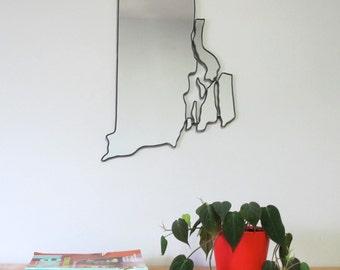 Rhode Island Mirror / Wall Mirror State Outline Silhouette RI Shape RISDI Art