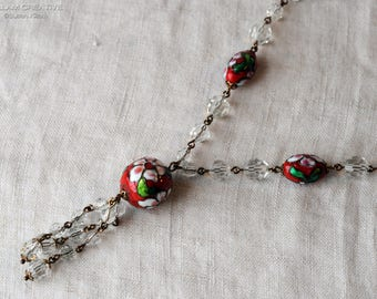 Vintage Cloisonné Crystal Necklace, Red Cloisonne, Faceted Crystal Beads, Handmade, Repurposed, Assemblage