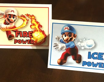 Super Mario Brothers Ice Power/Fire Power tent cards WITH flower center