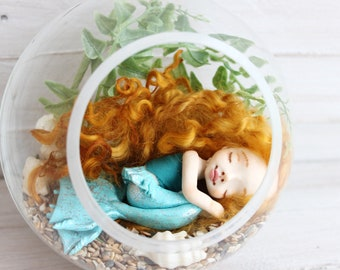 Sleeping mermaid, Art clay doll, Collecting doll, sculpted clay doll, OOAK Art Doll, Handmade doll, gift