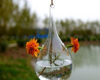 Teardrop glass hanging vase//indoor water plant planter//olive glass terrarium//garden decoration
