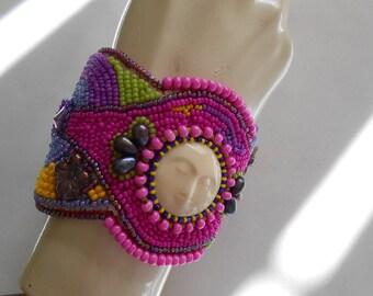 Moon Face Embroidery Cuff Bracelet/OOAK