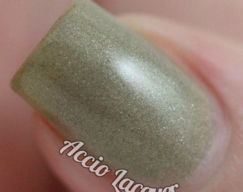 Petoskey Stone - 15 ml - warm grey polish with green, gold, brown and holo shimmer - indie polish by ALIQUID Lacquer