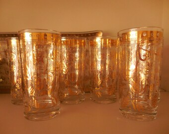 Six High Ball Georges Briard Drinking Glasses