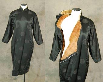 vintage 40s Cheongsam Dress - 1940s Fox Fur Lined Cheongsam Black Silk Qipao Asian Dress Rare Sz L