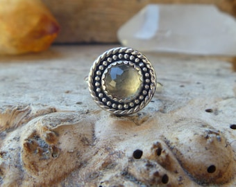 Prasiolite and sterling silver ring // size 6.75// Handmade // Prasiolite jewelry // Metaphysical // silver jewelry // green amethyst