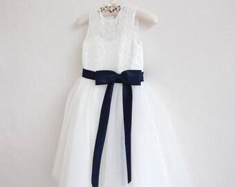 Light Ivory Flower Girl Dress Navy Baby Girls Dress Lace Tulle Flower Girl Dress With Navy Sash/Bows Sleeveless Knee-length