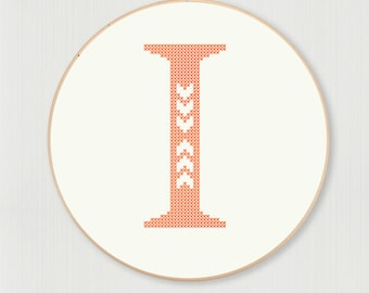 Cross stitch letter I pattern with chevron detail, digital download