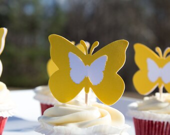 Yellow and White Butterfly Cupcake Toppers (12ct), Spring Cupcake Toppers, Butterfly Toppers, Yellow Butterfly Food Picks (25 ct)