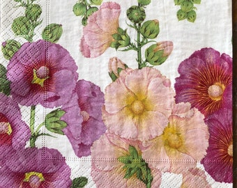Decoupage Paper Napkins, Floral Napkins, Lunch Napkin, Hollyhock, Collage, Craft, Scrapbooking, Paper Craft, Serviette, Decoupage Paper