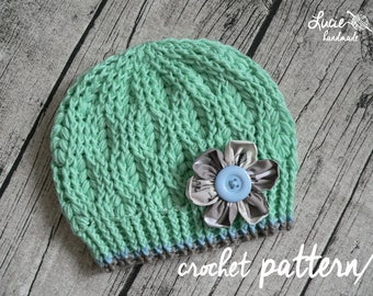 Crochet Hat PATTERN No.94 - Winter Hat Crochet Pattern, spikelet pattern