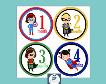 DIGITAL Baby Girl Month Stickers, Age Stickers, Milestone Baby Cards, 1st Year Stickers, Baby Belly Stickers, Superhero DIY Printable