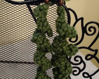 Olive Green Flower Spiral Dangle