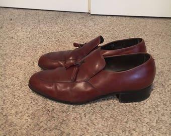Vintage 1970's Mens BrownLeatherTassle Platform Loafer Dress Shoes Size 11 size 12/ Disco Brown Leather Platform Dress Shoes/Florsheim shoes