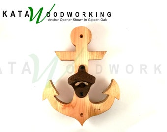 Anchor Shaped Wood Cut-out Bottle Opener - Wall Mount - Handmade