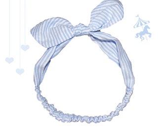 Headband baby / child stripes blue silver wire