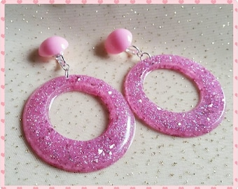 Custom Glitter Resin hoops // Your choice of colour // Pinup hoop earrings