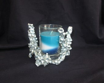 Water bead casting candle holder, organic casting
