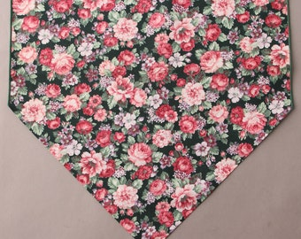 """Pink Floral Table Runner, Small 36"""" Table Runner, Country Table Runner"""