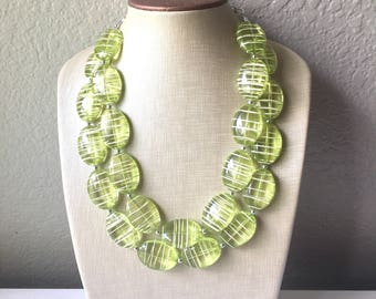 Lime Green statement necklace, chunky green necklace, double strand necklace, lime green jewelry, beaded jewelry, everyday necklace, green