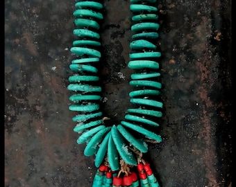 Old style pueblo made natural turquoise necklace with joclaw made with natural turquoise,  abalone and red polished Mediterranean coral