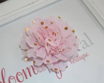 Pink and Gold Metallic Chiffon Flower
