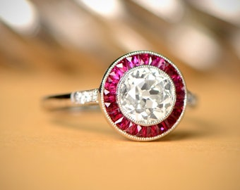 Vintage Style (1.23-Carats) Diamond and Ruby Engagement Ring - Handcrafted - Estate Diamond Jewelry