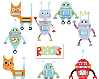 ON SALE INSTANT Download. Cr_1_Robot. Robot clip art. Personal and commercial use.