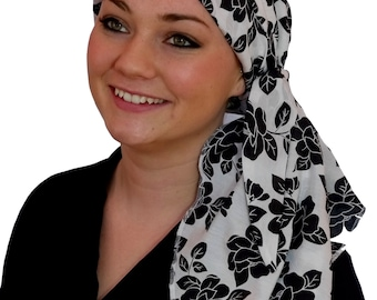 Carlee Pre-Tied Head Scarf, Women's Cancer Headwear, Chemo Scarf, Alopecia Hat, Head Wrap, Head Cover for Hair Loss - Black Roses